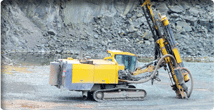 Working machine on site drilling mining
